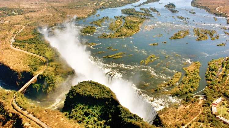 Victoria Falls viewed from the air, Gorges Lodge, Zimbabwe