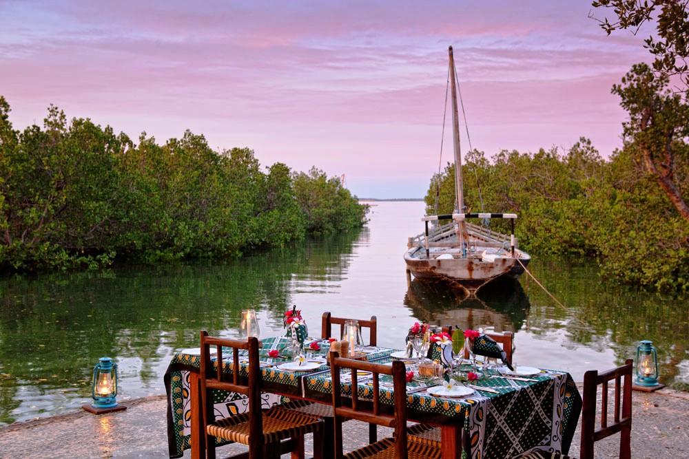 Chole Mjini Lodge - Dining boat Mafia Island Zanzibar