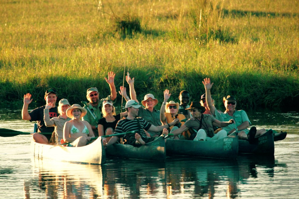 Stretch with a canoe group, Goliath Safaris, Mana Pools, Zimbabwe