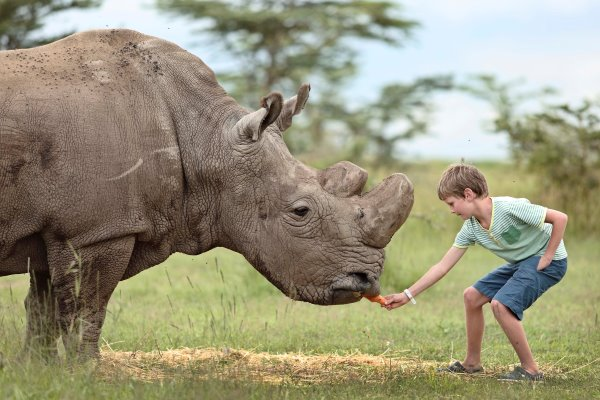 Boy and rhino at Laikipia, Kenya