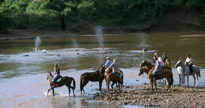 Taking a dip with the horses, Offbeat Safaris