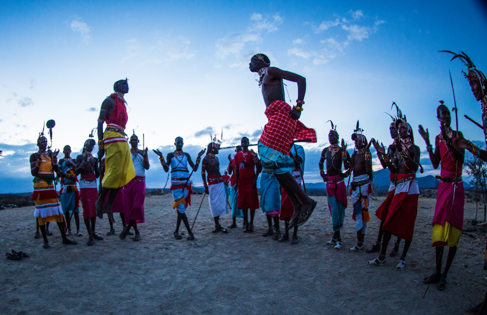Samburu tribal dance at sundown