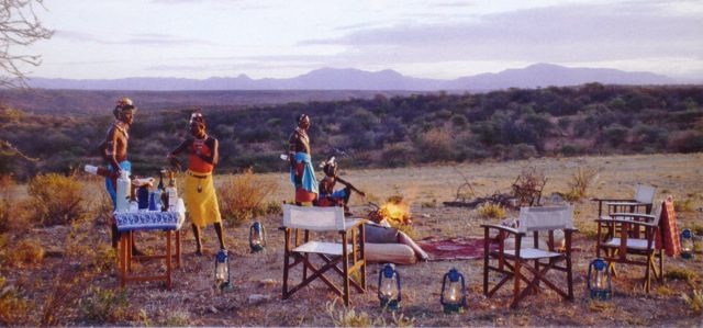 bush dinner picnic overlooking Samburu plains