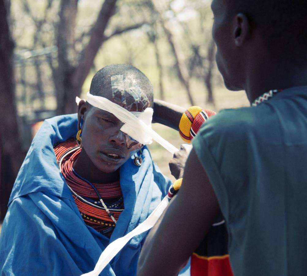 Trachoma patient, Sybil, visits mobile surgical tent. Image credit: Samburu Trust