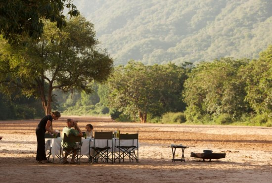 breakfast served at a table in the dry river bed