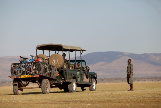 Game drive in Tanzania - truck with cycle trailer