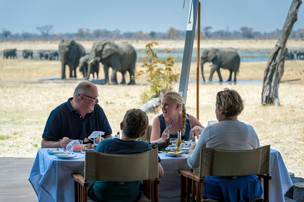Brunch with elephants, Davisons' Camp, Hwange, Zimbabwe