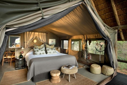 bedroom inside luxury safari tent