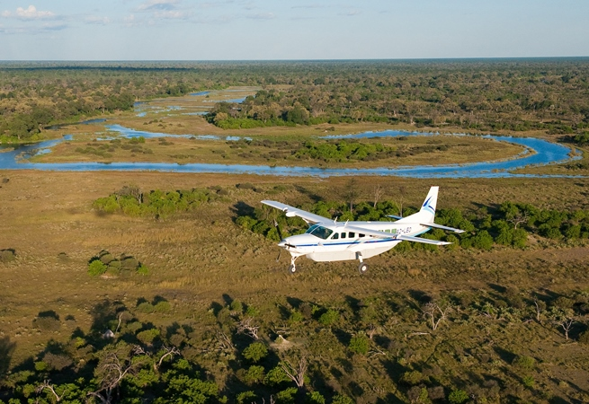 Wilderness light aircraft, Okavango Delta, Botswana –