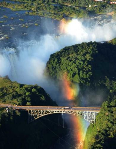 A rainbow over Victoria Falls, Zimbabwe