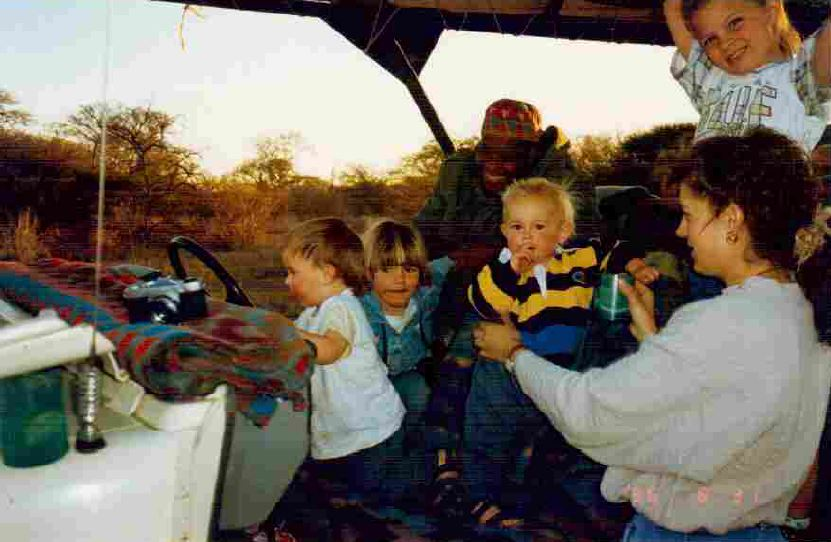 Family game drive in 1990's kids in a 4x4