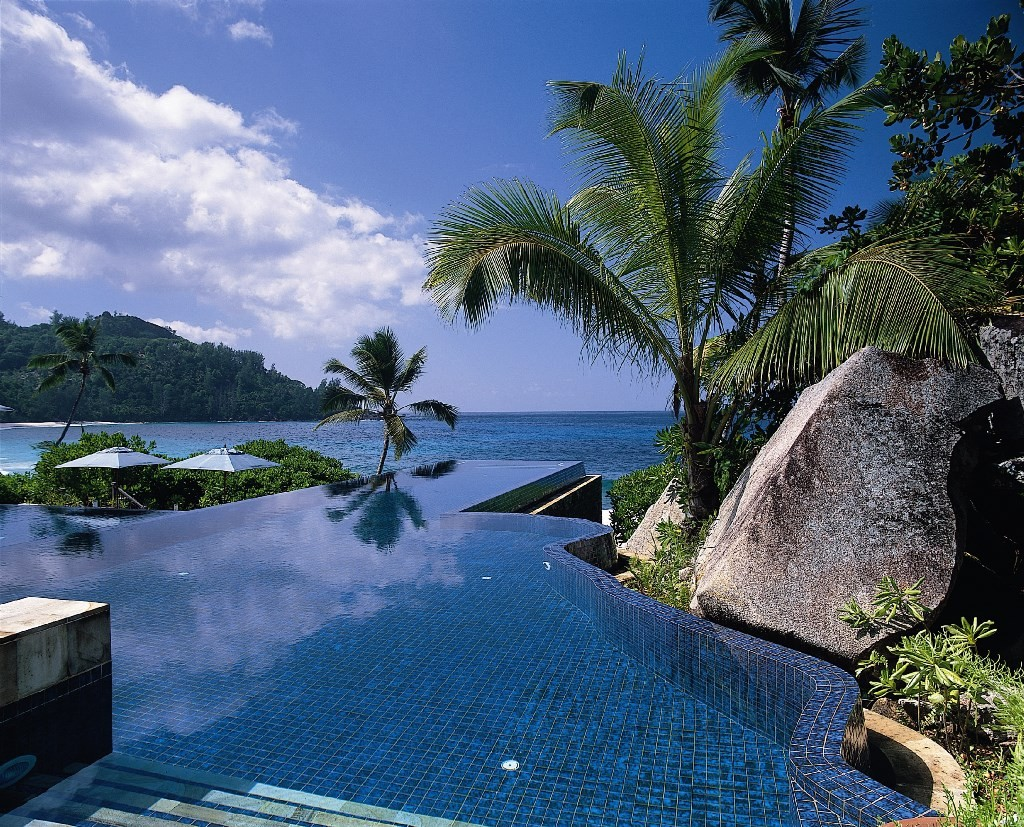 Banyan Tree private infinity pool, Mahe, Seychelles