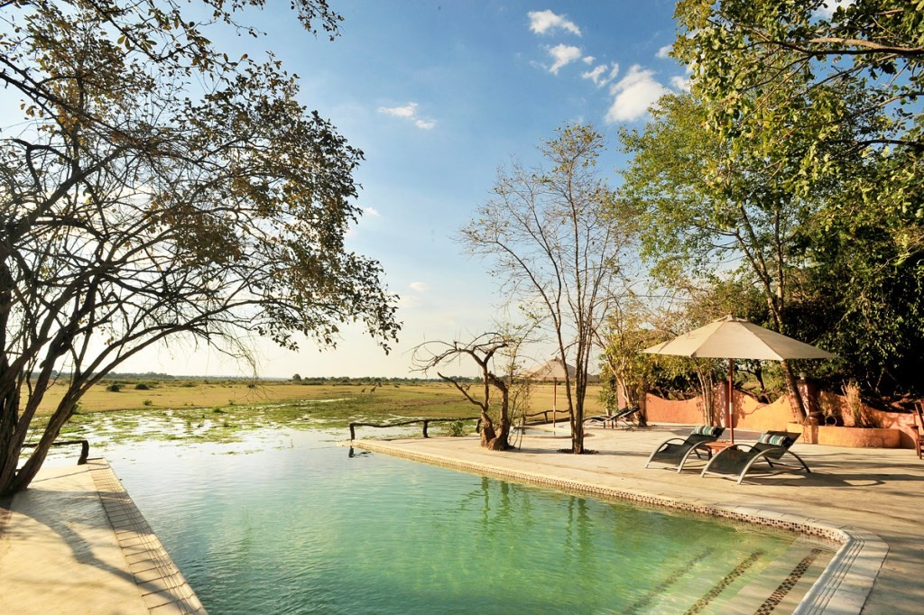 Kafunta River Lodge pool, South Luangwa, Zambia