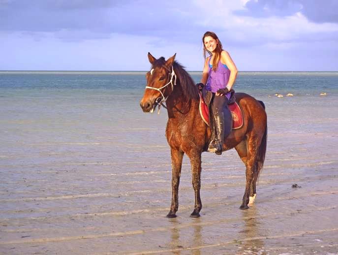 Brutus ridden by Mandy, Mozambique Horse Safaris, Mozambique