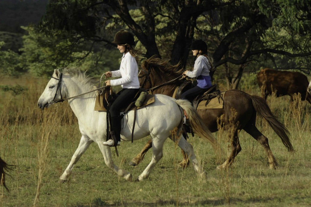 Girls riding ponies, Horizon Horseback, Waterburg, South Africa