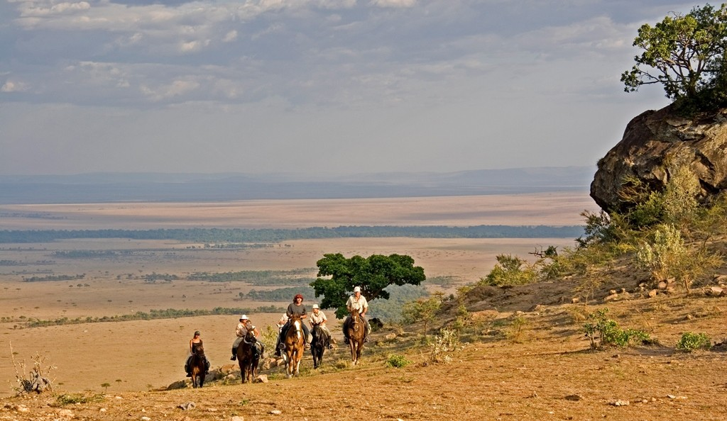Riders walkiing up Olololo Escarpment, Offbeat Safaris, Kenya