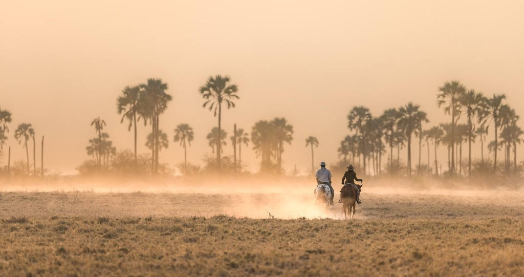 Two riders kicking up the dust at Ride Botswana