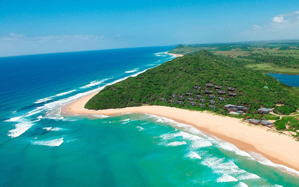 aerial view of beach at White Pearl, Mozambique