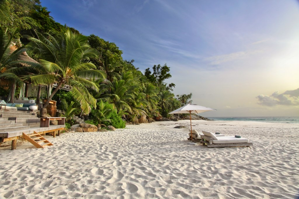 Wonderful white sand beach at North Island Seychelles