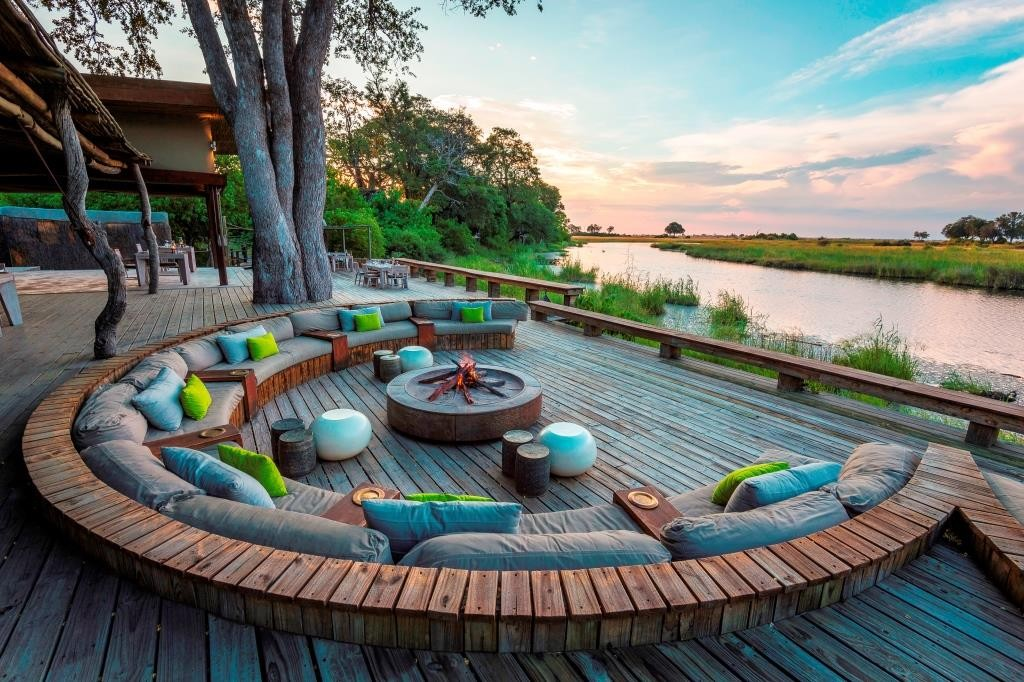 Terrace lounge by the river in a circle, Kings Pool, Chobe and Linyanti Zambia, image credit Wilderness Safaris