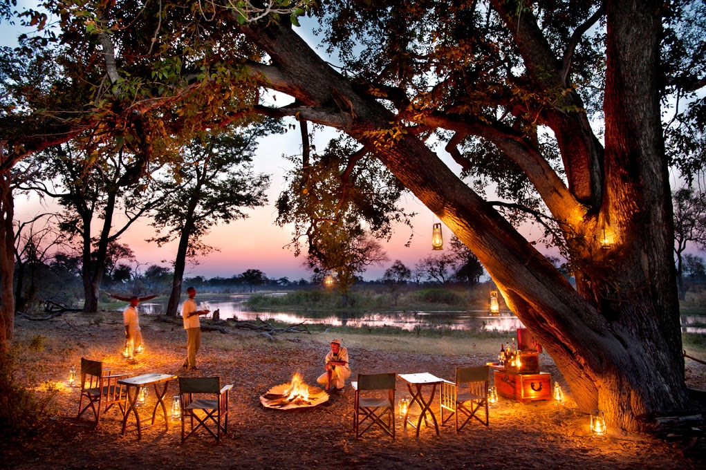Campfire at Selinda Explorers Camp Linyanti Botswana Great Plains Dook