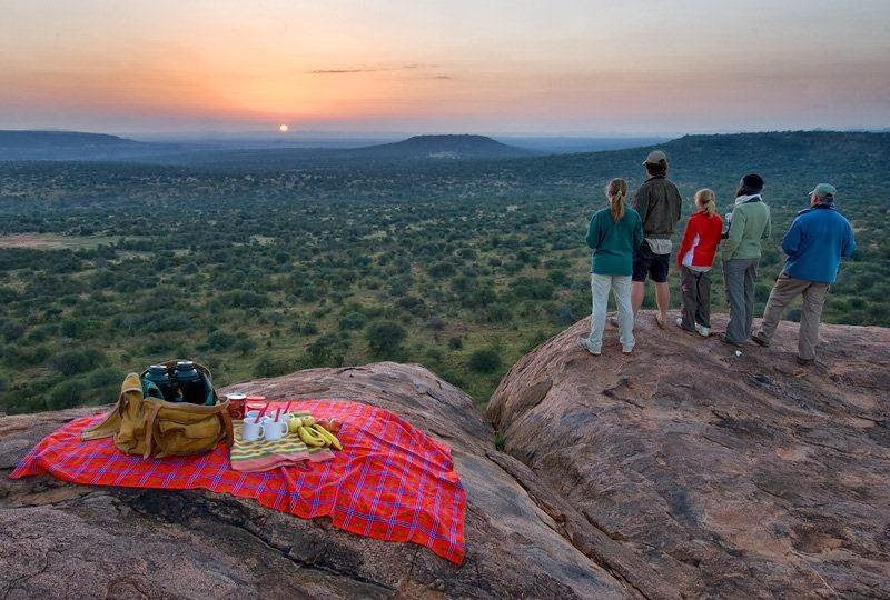 Sunrise breakfast view with a family, Sosian Ranch, Laikipia, Kenya
