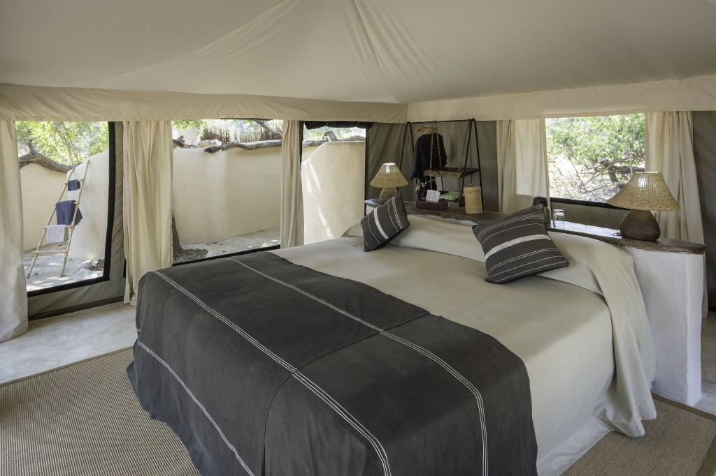 Tena Tena South Luangwa NP Zambia luxury tented bedroom contemporary grey eco chic
