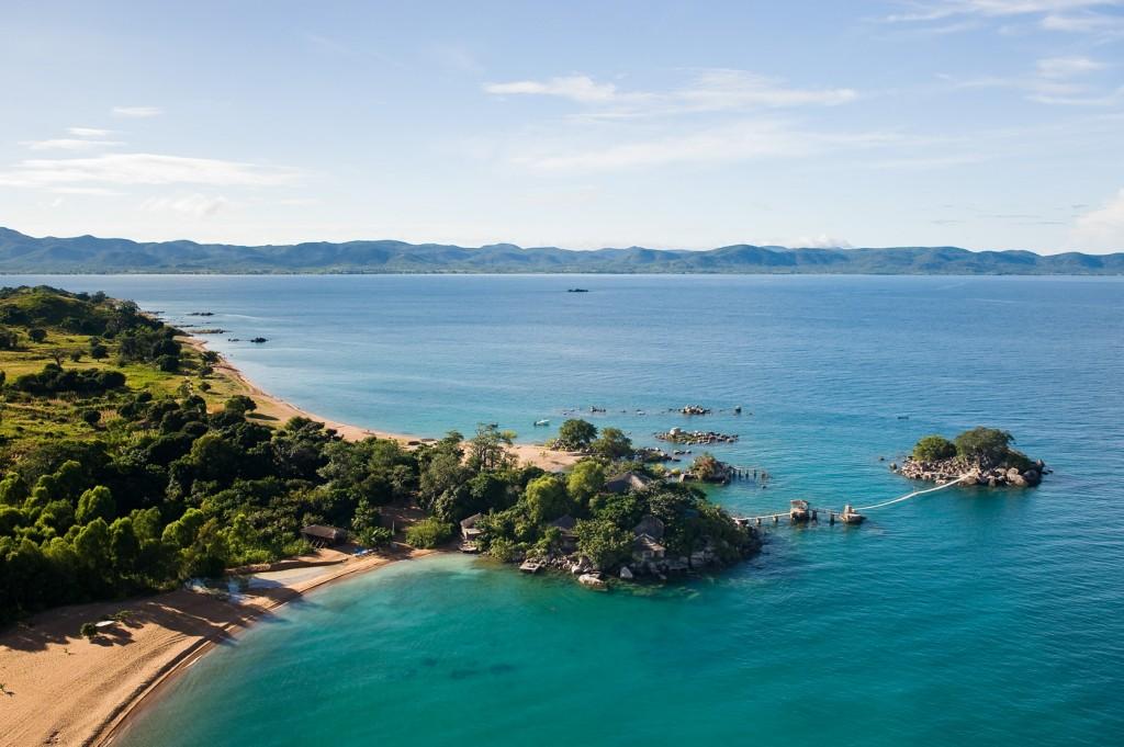 Beautiful Lake Malawi, Kaya Mawa with jetty and island