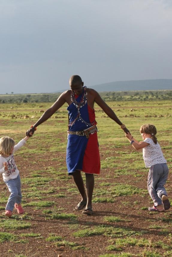 Masai host David, entertaining, Leleshwa Camp, Masai Mara, Kenya family safari