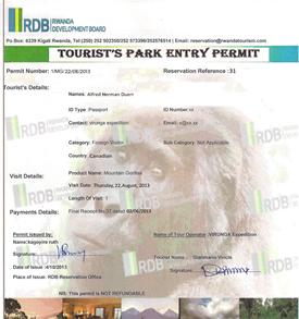 a gorilla permit, Image Credit Volcanoes National Park , Rwanda
