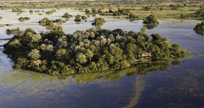 Aerial Island wildlife paradise, Jacana Camp, Okavango Delta, Botswana