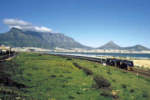Blue Train luxury train pulling out of Cape Town