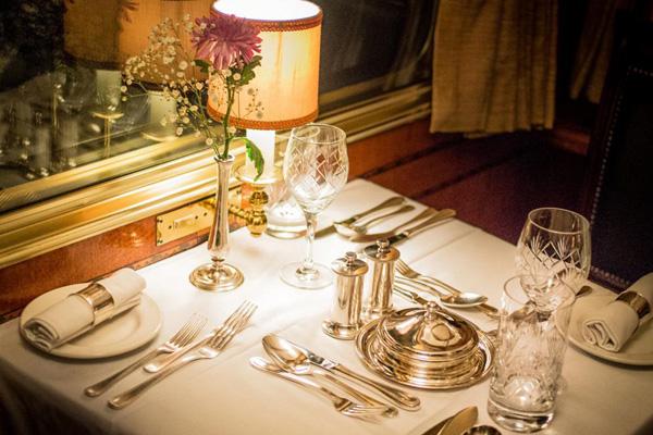 Fine dining - dining car Blue Train luxury train