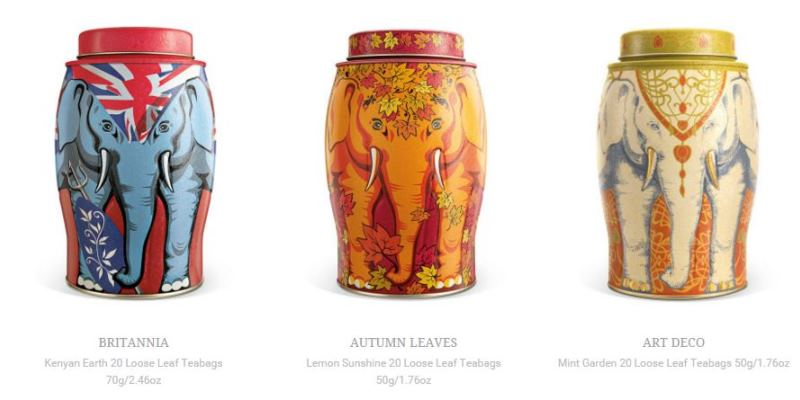 Elephant design tea caddies supporting DSWT