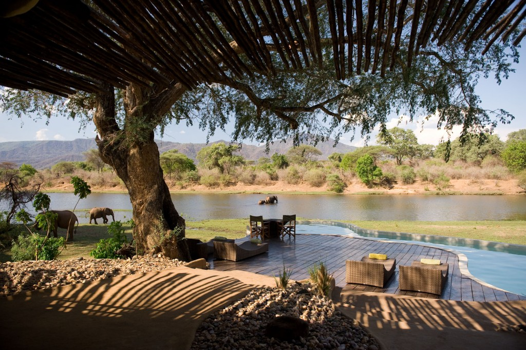 Deck by the river, Chongwe River House, Lower Zambezi, Zambia