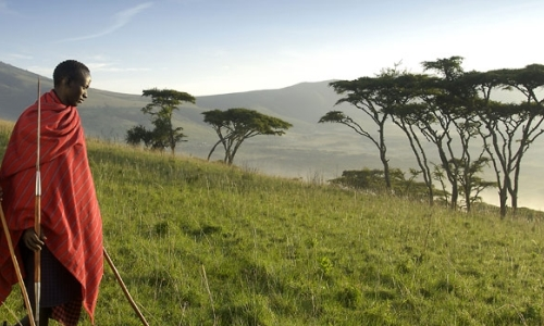 Masai warrior and Ngorongoro Crater