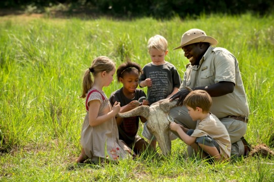 Children on a family safari at Phinda Reserve
