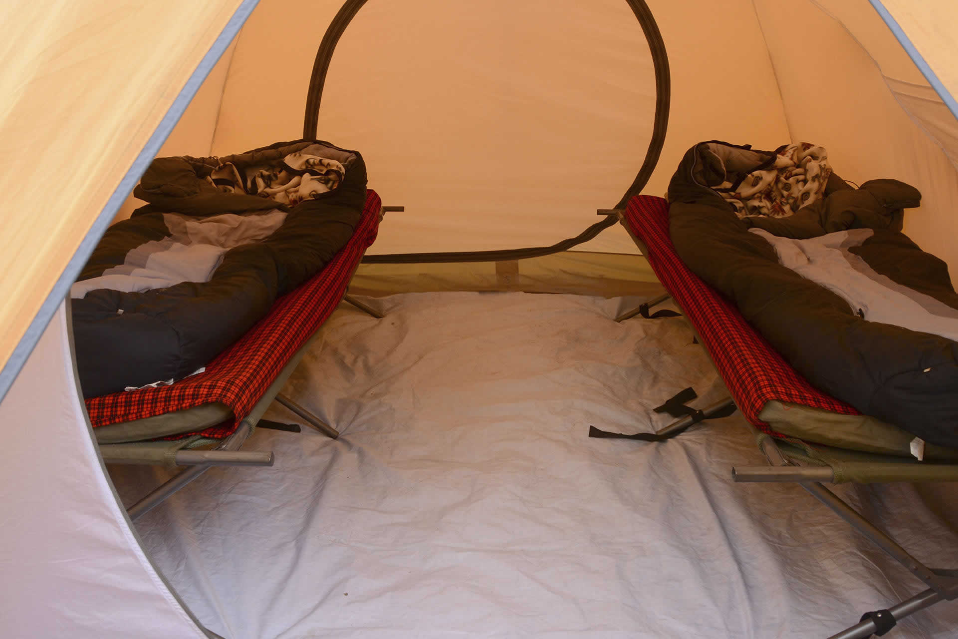 Walk in tents with cots Kilimanjaro Climb