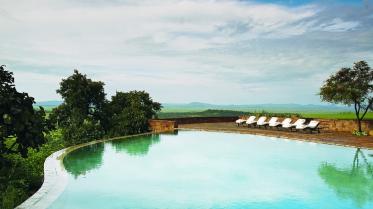 African swimming pool, Singita Sasakwa Lodge, Serengeti, Tanzania