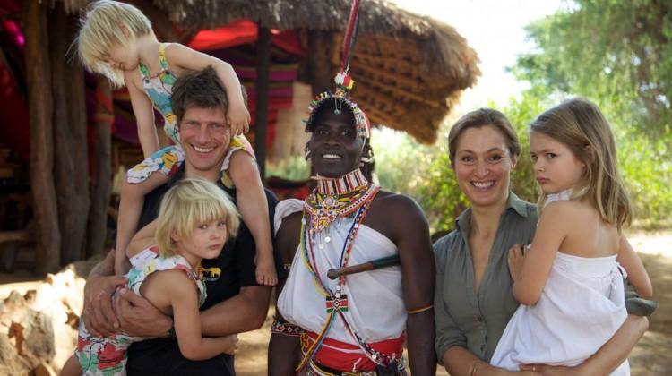 Saba Douglas-Hamilton with safari guide and family at Elephant Watch Camp, Samburu Kenya