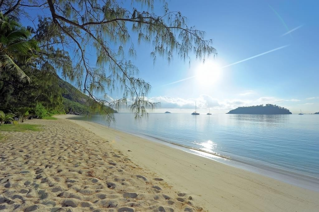 Morning sunshine at the beach, Sainte Anne Resort, Mahe, Seychelles