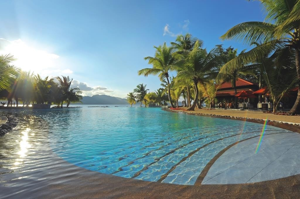 Infinity pool at Sainte Anne Resort, Mahe, Seychelles
