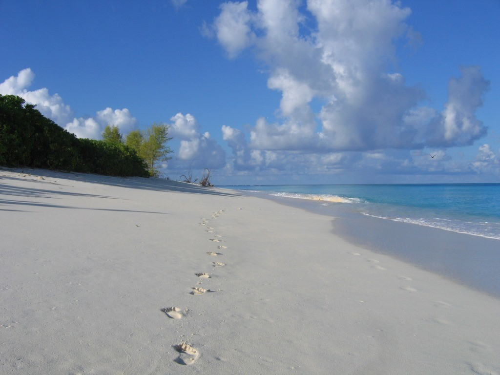 footprints on the beach, Bird Island, Seychelles
