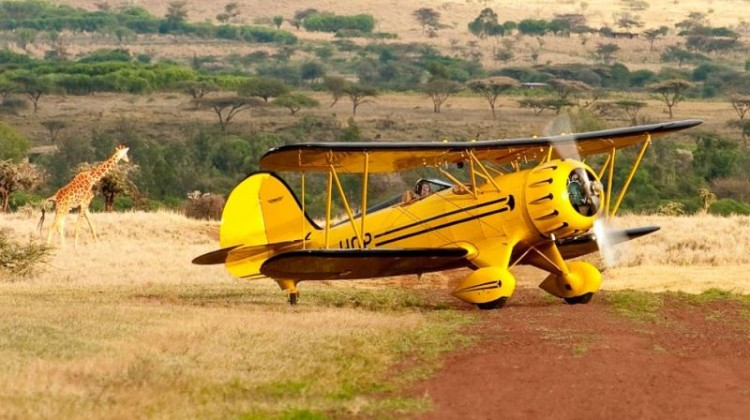 Lewa yellow 'Out of Africa' biplane Kenya