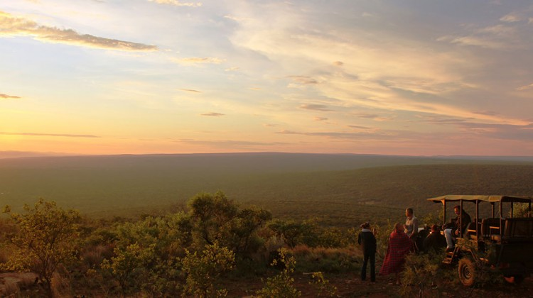 South African landscape game drive vista, sundowners at Ant's