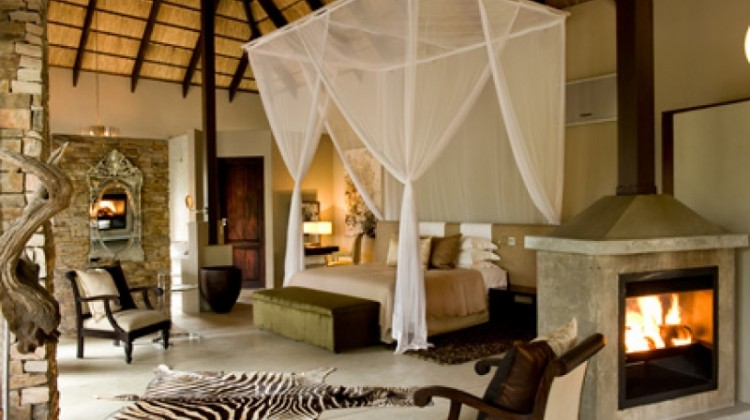 Tswalu South Africa's luxurious suite with woodburner and safari decor