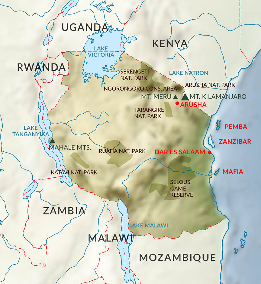 Map of Tanzania's National Parks