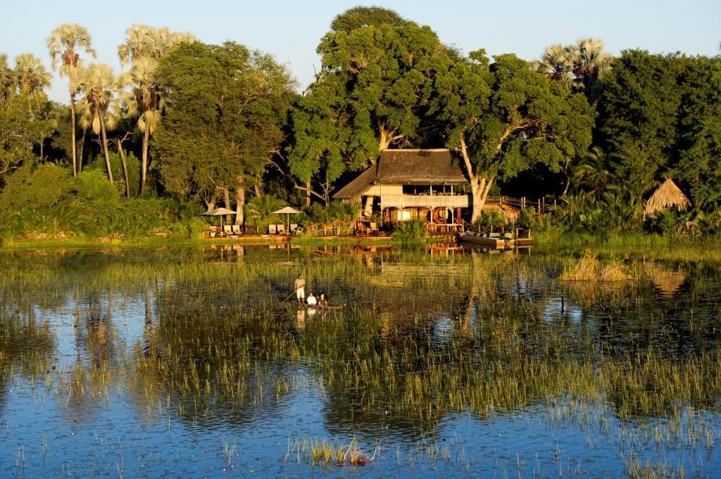 Mokoro canoeing at Jacana Camp, Okavango Delta