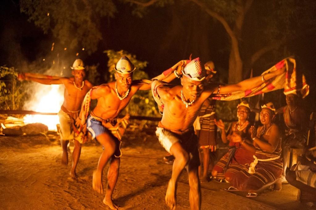 Male dancers at Mandrare River Camp