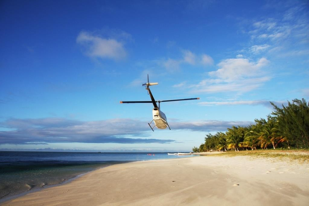 Helicopter transfers to Miavana private island